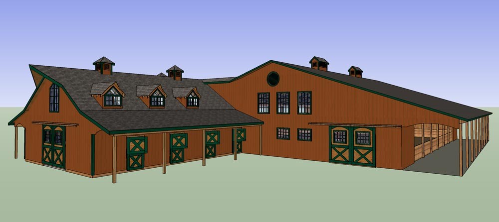 horse arena with barn and living quarters